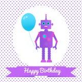 Κάρτα χαιρετισμών με ένα ρομπότ και ένα μπαλόνι Στοκ εικόνα με δικαίωμα ελεύθερης χρήσης