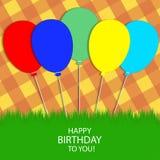 Κάρτα χαιρετισμών με τα μπαλόνια Στοκ Εικόνες