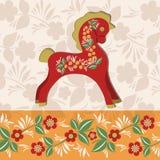 Κάρτα χαιρετισμών με το άλογο 1 Στοκ Εικόνες