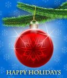 Κάρτα χαιρετισμών με το χριστουγεννιάτικο δέντρο και ένα μπιχλιμπίδι Στοκ φωτογραφία με δικαίωμα ελεύθερης χρήσης