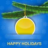 Κάρτα χαιρετισμών με το χριστουγεννιάτικο δέντρο και ένα μπιχλιμπίδι Στοκ Εικόνα