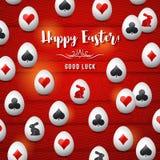 Κάρτα χαιρετισμών Πάσχας με τα κόκκινα και μαύρα σύμβολα παιχνιδιού π