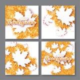 4 κάρτα χαιρετισμών φθινοπώρου με τον ευτυχή τίτλο ημέρας των ευχαριστιών Στοκ Εικόνα
