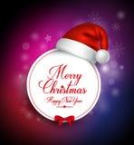 Κάρτα χαιρετισμών Χαρούμενα Χριστούγεννας σε έναν κύκλο Στοκ Εικόνες