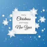 Κάρτα χαιρετισμών Χαρούμενα Χριστούγεννας στο μπλε υπόβαθρο Το έγγραφο έκοψε τη νιφάδα χιονιού καλή χρονιά Χειμερινά snowflakes α ελεύθερη απεικόνιση δικαιώματος