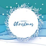 Κάρτα χαιρετισμών Χαρούμενα Χριστούγεννας Origami Το έγγραφο έκοψε τη νιφάδα χιονιού καλή χρονιά Χειμερινά snowflakes ανασκόπηση  διανυσματική απεικόνιση