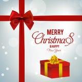 Κάρτα χαιρετισμών Χριστουγέννων με τις ελαφριές κόκκινες ΓΠ κορδελλών υποβάθρου κόκκινες Στοκ Εικόνες