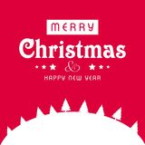 Κάρτα χαιρετισμών Χριστουγέννων με το ρόδινο υπόβαθρο και το άσπρο christma Στοκ Φωτογραφία