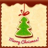 Κάρτα χαιρετισμών χριστουγεννιάτικων δέντρων σοκολάτας απεικόνιση αποθεμάτων