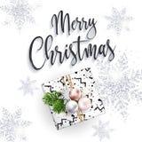 Κάρτα Χαρούμενα Χριστούγεννας Εγγραφή συγχαρητηρίων Στοκ Εικόνες