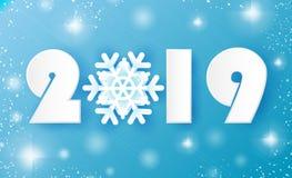 2019, κάρτα Χαρούμενα Χριστούγεννας και χαιρετισμών καλής χρονιάς Snowflakes περικοπών της Λευκής Βίβλου Υπόβαθρο διακοσμήσεων Or διανυσματική απεικόνιση