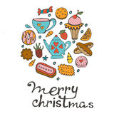 Κάρτα Χαρούμενα Χριστούγεννας με συρμένα τα χέρι γλυκά και τα επιδόρπια Στοκ Εικόνες