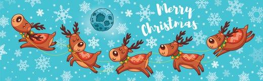 Κάρτα Χαρούμενα Χριστούγεννας με τα χαριτωμένα deers κινούμενων σχεδίων διανυσματική απεικόνιση