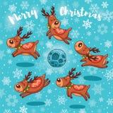 Κάρτα Χαρούμενα Χριστούγεννας με τα χαριτωμένα deers κινούμενων σχεδίων ελεύθερη απεικόνιση δικαιώματος