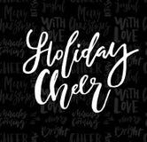 Κάρτα Χαρούμενα Χριστούγεννας με την ευθυμία διακοπών καλλιγραφίας σε άνευ ραφής διανυσματική απεικόνιση