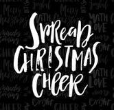 Κάρτα Χαρούμενα Χριστούγεννας με την καλλιγραφία ευθυμία στο άνευ ραφής γ διανυσματική απεικόνιση