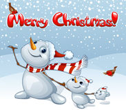 Κάρτα Χαρούμενα Χριστούγεννας με την οικογένεια χιονανθρώπων Στοκ Φωτογραφίες