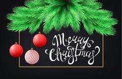 Κάρτα Χαρούμενα Χριστούγεννας με τον κλάδο δέντρων έλατου Στοκ Φωτογραφίες