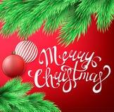 Κάρτα Χαρούμενα Χριστούγεννας με τον κλάδο δέντρων έλατου, Χριστούγεννα decorat Στοκ Εικόνες