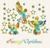 Κάρτα Χαρούμενα Χριστούγεννας με τους αγγέλους Στοκ Φωτογραφία
