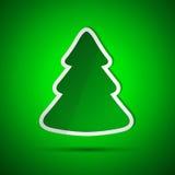 Κάρτα Χαρούμενα Χριστούγεννας με το απλό πράσινο δέντρο Στοκ εικόνες με δικαίωμα ελεύθερης χρήσης
