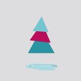 Κάρτα Χαρούμενα Χριστούγεννας με το μπλε ρόδινο δέντρο Στοκ Εικόνες