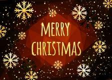 Κάρτα Χαρούμενα Χριστούγεννας με χρυσά snowflakes αφηρημένος χειμώνας ανασκόπησης Εύκολο σύγχρονο πρότυπο Ελεύθερη απεικόνιση δικαιώματος