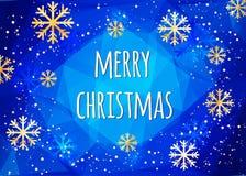 Κάρτα Χαρούμενα Χριστούγεννας με χρυσά snowflakes αφηρημένος χειμώνας ανασκόπησης Εύκολο σύγχρονο πρότυπο απεικόνιση αποθεμάτων