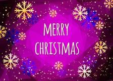 Κάρτα Χαρούμενα Χριστούγεννας με χρυσά snowflakes αφηρημένος χειμώνας ανασκόπησης Εύκολο σύγχρονο πρότυπο Διανυσματική απεικόνιση