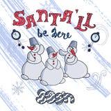 Κάρτα Χαρούμενα Χριστούγεννας Τρεις χιονάνθρωποι περιμένουν την άφιξη Santa Το διανυσματικό αρχείο απεικόνιση αποθεμάτων