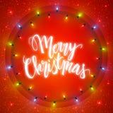 Κάρτα Χαρούμενα Χριστούγεννας, φωτισμένος κύκλος των λαμπρών φω'των γιρλαντών ελεύθερη απεικόνιση δικαιώματος