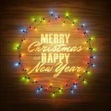 Κάρτα Χαρούμενα Χριστούγεννας, φωτισμένος κύκλος των λαμπρών φω'των γιρλαντών διανυσματική απεικόνιση