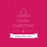 Κάρτα Χαρούμενα Χριστούγεννας, χαιρετώντας ντεκόρ, κάρτα Χριστουγέννων, νέο σχέδιο έτους Στοκ Εικόνες