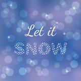 Κάρτα χειμερινών αφισών Το αφήστε να χιονίσει, κείμενο που απομονώνεται στο θολωμένο υπόβαθρο τρισδιάστατη αμερικανική καρτών χρω Στοκ φωτογραφία με δικαίωμα ελεύθερης χρήσης
