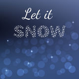 Κάρτα χειμερινών αφισών Το αφήστε να χιονίσει, κείμενο που απομονώνεται στο θολωμένο υπόβαθρο τρισδιάστατη αμερικανική καρτών χρω Στοκ φωτογραφίες με δικαίωμα ελεύθερης χρήσης