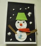 Κάρτα - χιονάνθρωπος applique Διακόσμηση σπιτιών για τα Χριστούγεννα και το νέο έτος Στοκ Εικόνες