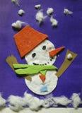 Κάρτα - χιονάνθρωπος applique Διακόσμηση σπιτιών για τα Χριστούγεννα και το νέο έτος Στοκ φωτογραφία με δικαίωμα ελεύθερης χρήσης