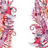 Κάρτα χορταριών λιβαδιών φθινοπώρου Watercolor Στοκ φωτογραφία με δικαίωμα ελεύθερης χρήσης