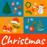 Κάρτα Χριστουγέννων έννοιας, απομονωμένο εικονίδιο Ύφος κινούμενων σχεδίων Διανυσματικό illustra Στοκ εικόνα με δικαίωμα ελεύθερης χρήσης