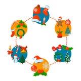 Κάρτα Χριστουγέννων έννοιας, απομονωμένο εικονίδιο Ύφος κινούμενων σχεδίων Διανυσματικό illustra Στοκ φωτογραφία με δικαίωμα ελεύθερης χρήσης