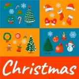 Κάρτα Χριστουγέννων έννοιας, απομονωμένο εικονίδιο Ύφος κινούμενων σχεδίων Διανυσματικό illustra Στοκ Φωτογραφίες
