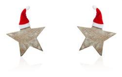 Κάρτα Χριστουγέννων, αστέρια με τα καπέλα Χριστουγέννων Στοκ φωτογραφία με δικαίωμα ελεύθερης χρήσης