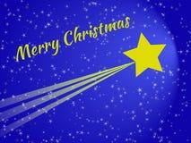 Κάρτα Χριστουγέννων αστεριών πυροβολισμού τη νύχτα Στοκ Εικόνα