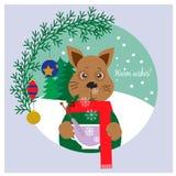 Κάρτα Χριστουγέννων, αυτοκόλλητη ετικέττα με το χαριτωμένο σκυλί - σύμβολο του έτους του 2018 Στοκ φωτογραφίες με δικαίωμα ελεύθερης χρήσης
