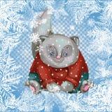Κάρτα Χριστουγέννων γατών Γατάκι Χριστουγέννων Στοκ εικόνα με δικαίωμα ελεύθερης χρήσης