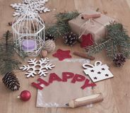 Κάρτα Χριστουγέννων και διακόσμηση Χριστουγέννων στο εκλεκτής ποιότητας ύφος Στοκ Εικόνα