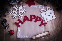 Κάρτα Χριστουγέννων και διακόσμηση Χριστουγέννων στο εκλεκτής ποιότητας ύφος Στοκ φωτογραφία με δικαίωμα ελεύθερης χρήσης