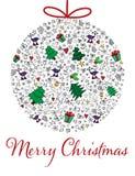 Κάρτα Χριστουγέννων και πρόσκληση σε πολύχρωμο συρμένο χέρι διανυσματική απεικόνιση