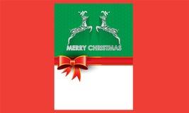 Κάρτα Χριστουγέννων και υπόβαθρο εορτασμού με τα deers δώρων και θέση για το κείμενό σας Στοκ Φωτογραφία