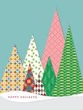 Κάρτα Χριστουγέννων και υπόβαθρο με το διανυσματικό σχήμα δέντρων πεύκων Στοκ φωτογραφία με δικαίωμα ελεύθερης χρήσης